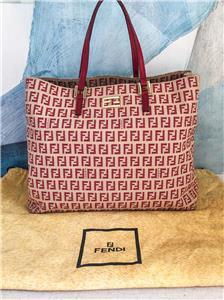 e5f877b0b3 $795 FENDI Red Canvas Zucca Monogram Shoulder Tote Bag Leather Strap w/ Dustbag