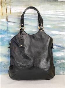 965 YVES SAINT LAURENT YSL Navy Blue Bag Patent Leather Metropolis Tribute  Tote 4a57aaa015ed0