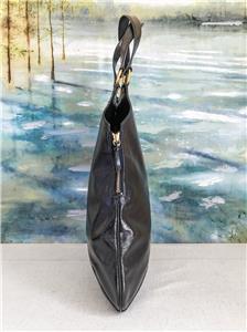 965 YVES SAINT LAURENT YSL Navy Blue Bag Patent Leather Metropolis ... 19c68ffc289a4