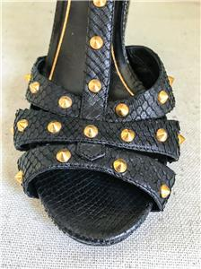 a7e94edab88b9  1150 GUCCI Jacquelyne Black Snakeskin Studded Platform Heels ...