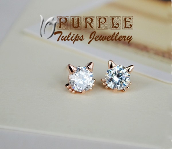 18k Rose Gold Plated Sparkling Cute Cat Stud Earrings W