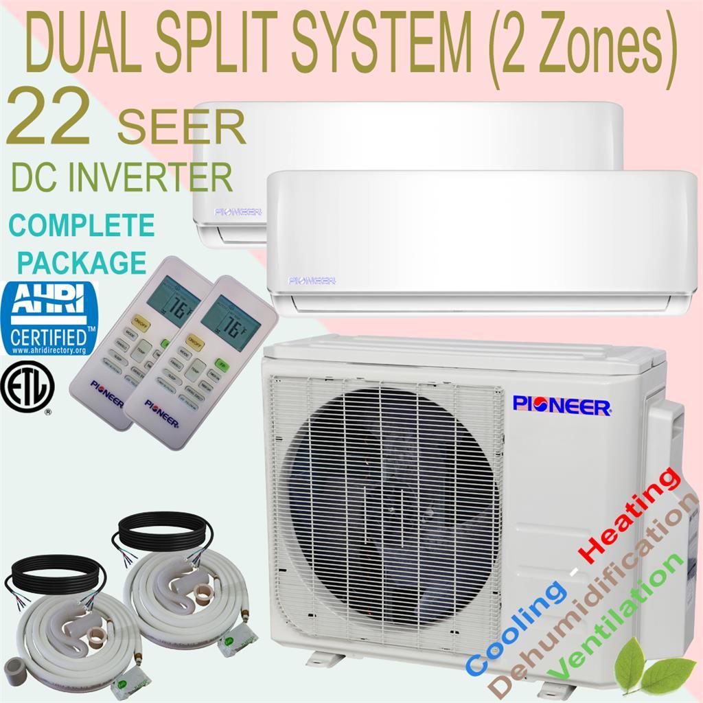 Dual Multi Split 2 Zone Pioneer 21 3 Seer Inverter Mini Split Ductless Heat Pump Ebay