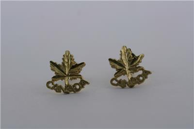 10k Solid Yellow Gold Earrings Canada Maple Leaves Studs