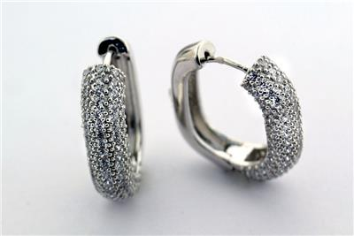 Cubic Zirconia Huggie Design Wide Hoop Earrings 925