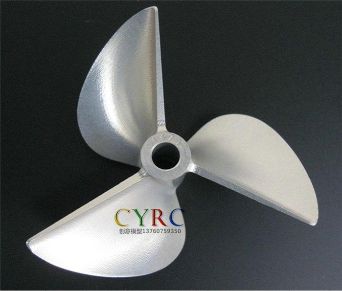 D74 x P1.4 x Φ6.35mm RC Boat Aluminum CNC Slotted 3-Blade Propeller