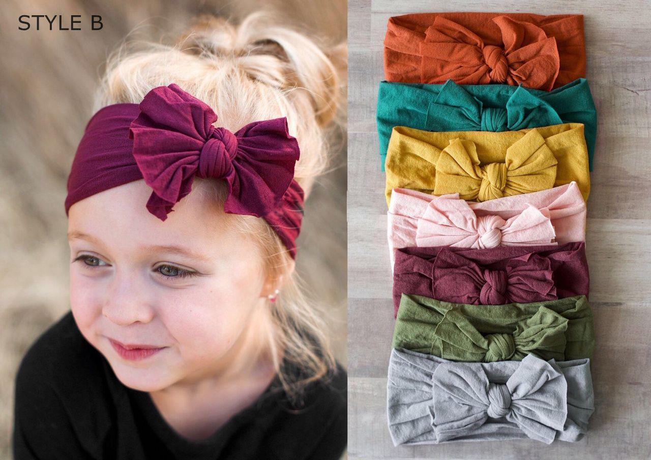Baby Nylon Soft Bow Head Wrap Turban Top Knot Headband Newborn Girl Accessories