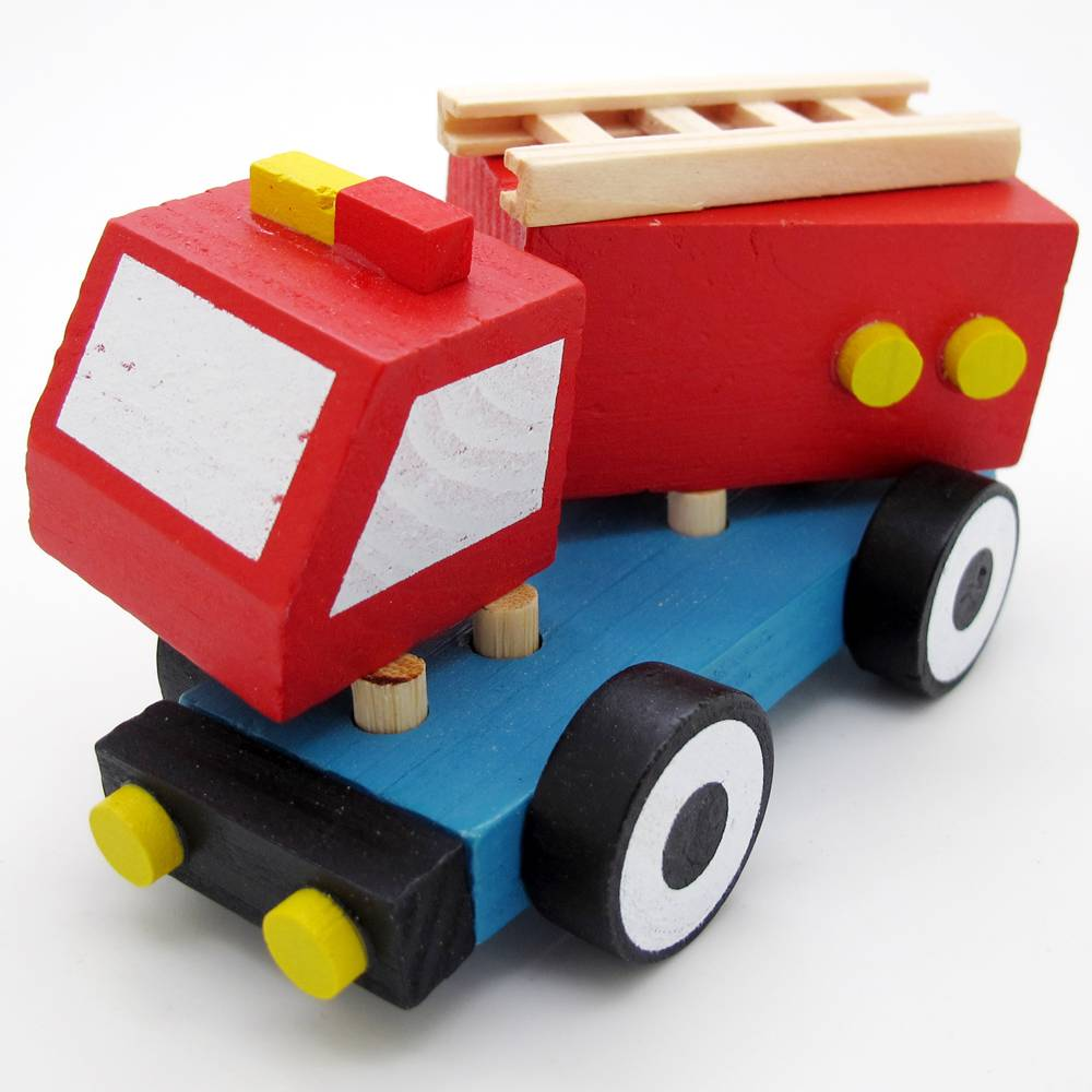 New Hand Made Wooden Puzzle Fire Truck Ambulance Car Baby Kids Educational Toys