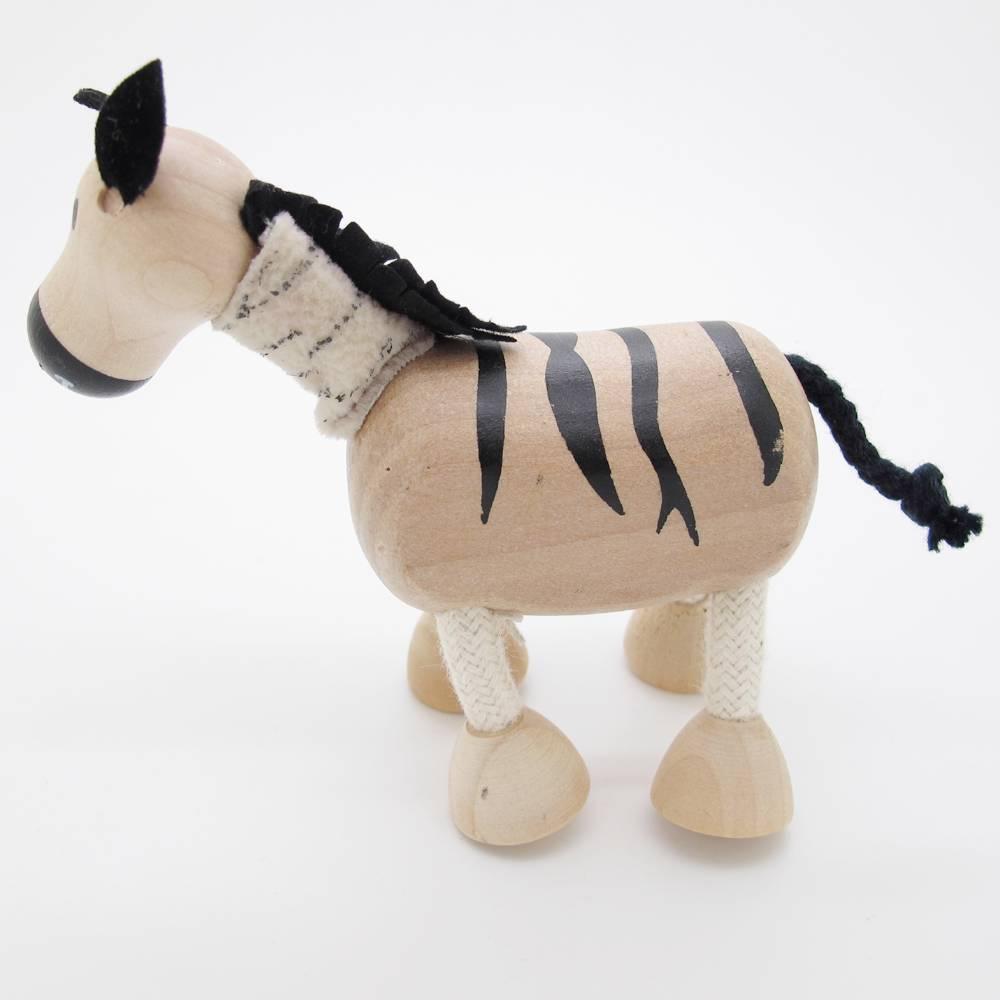 3D Portable Wooden  Animals Wood Figures Baby Kids Toys Zebra