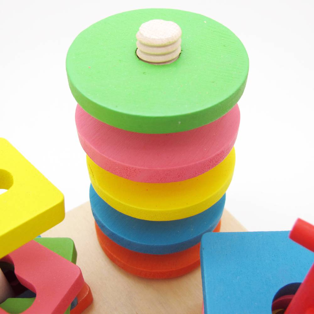 Wooden Building Block Puzzle Montessori Early Learning Kids Baby Educational Toy