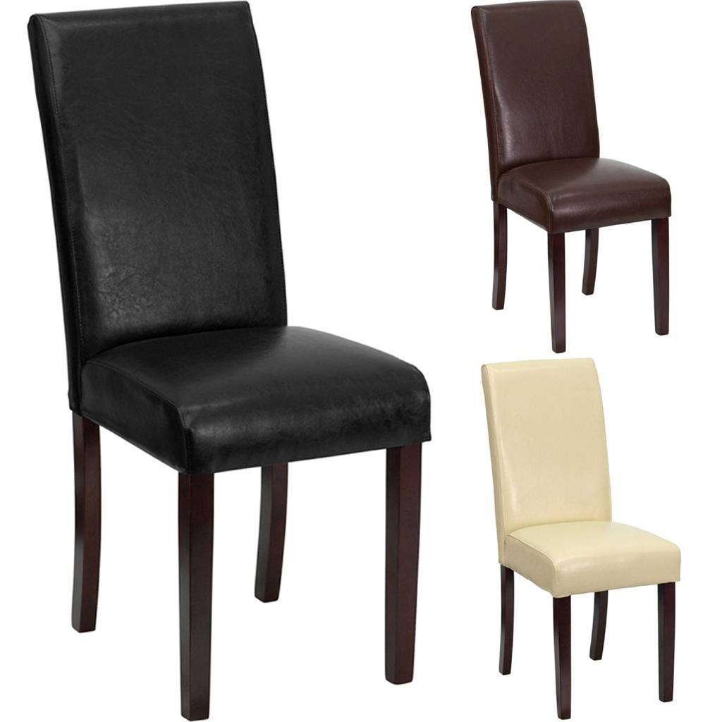 best premium leather wood parsons dining room table chair restaurant luxury new ebay. Black Bedroom Furniture Sets. Home Design Ideas
