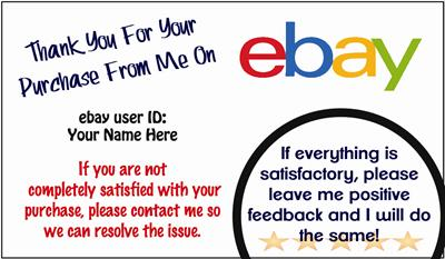 1000 ebay seller thank you business cards personalized for Ebay feedback request template