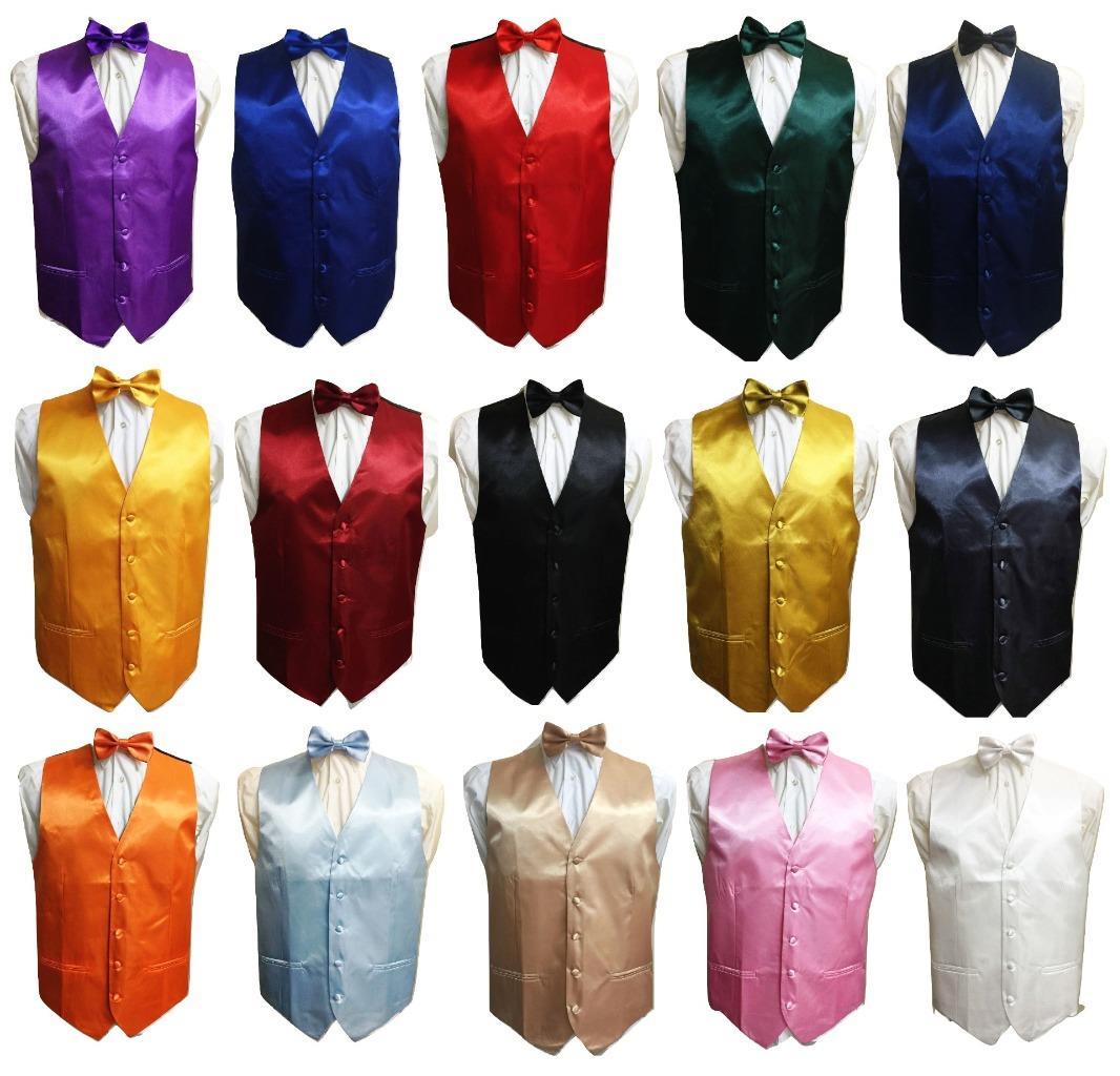 New Men/'s Silver formal vest Tuxedo Waistcoat self tie bow tie and hankie set