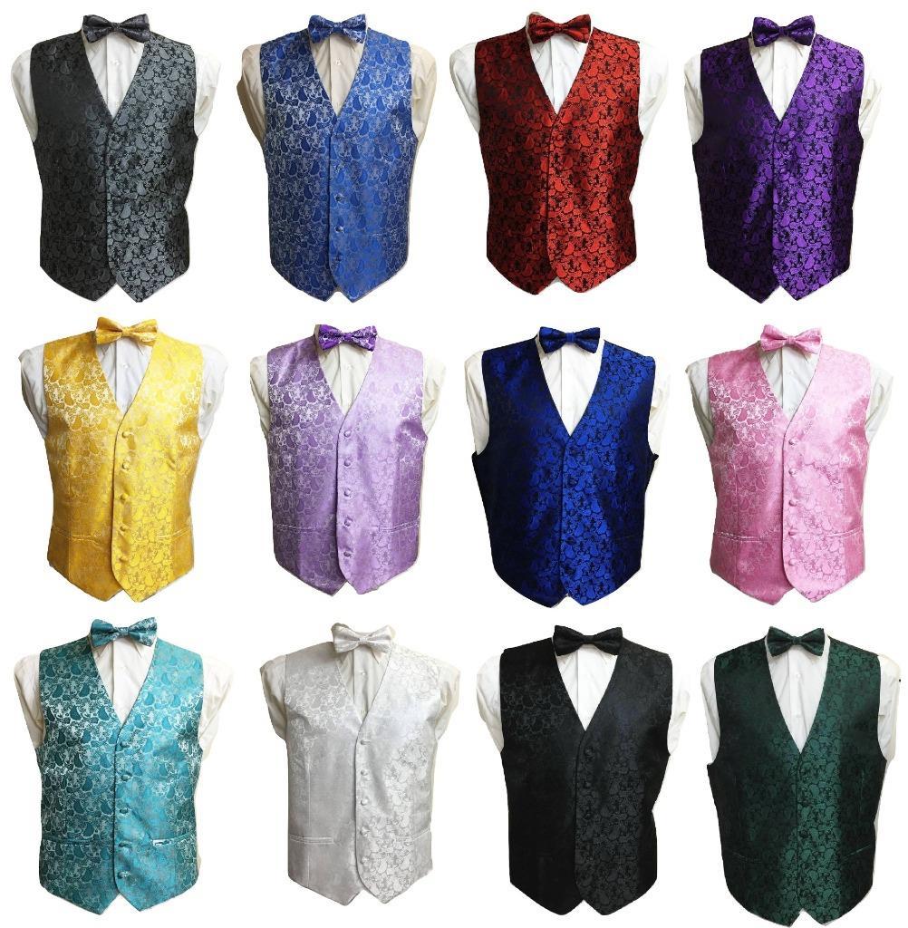 Men/'s Adult Paisley Waistcoat Vest and Bowtie Set For Suit UK Christmas Gift