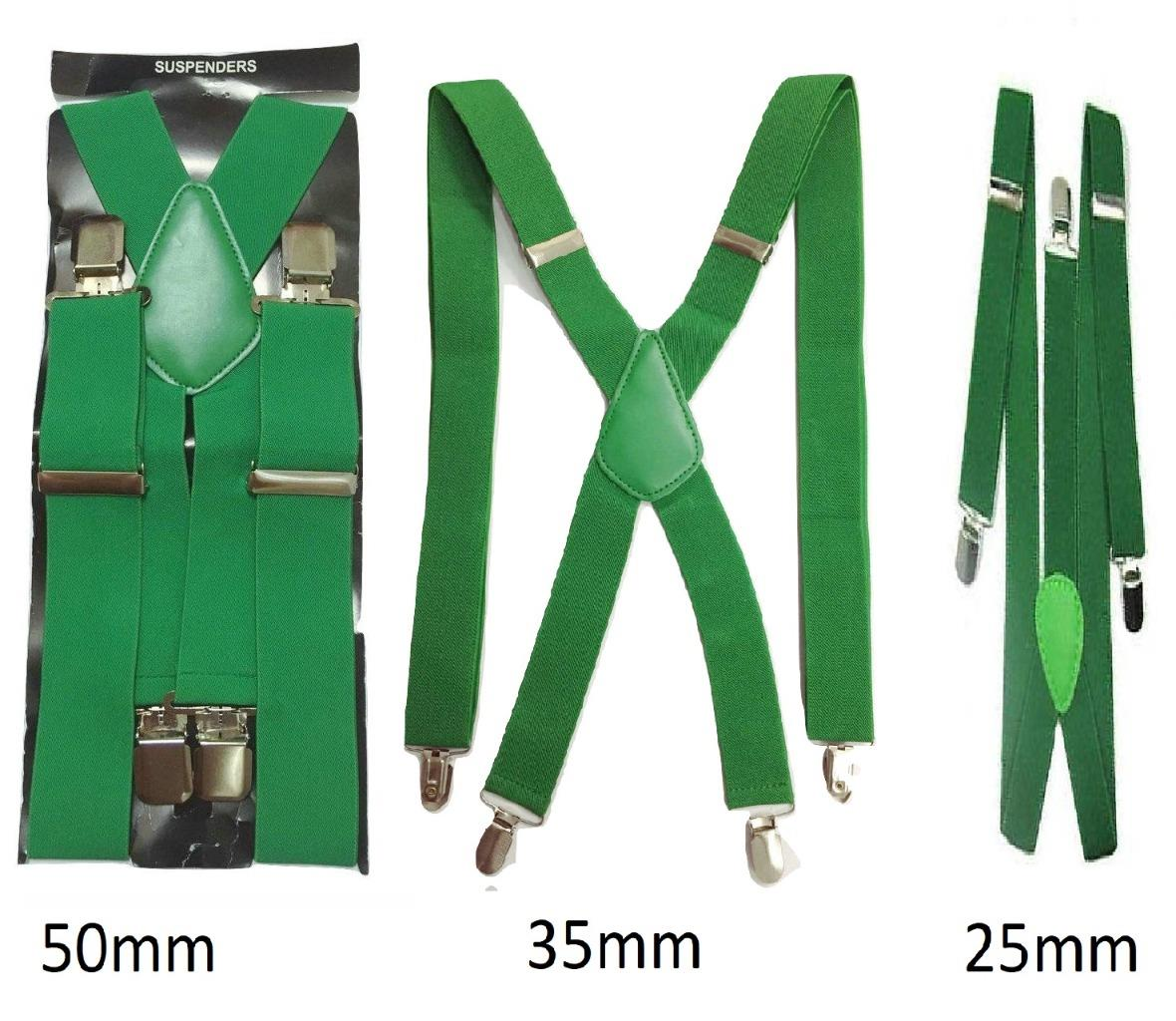 neues Hoch laest technology heiß-verkaufendes spätestes Details zu Grün Herren Damen Hosenträger Elastisch Breit Langlebig Hose  25mm 35mm 50mm