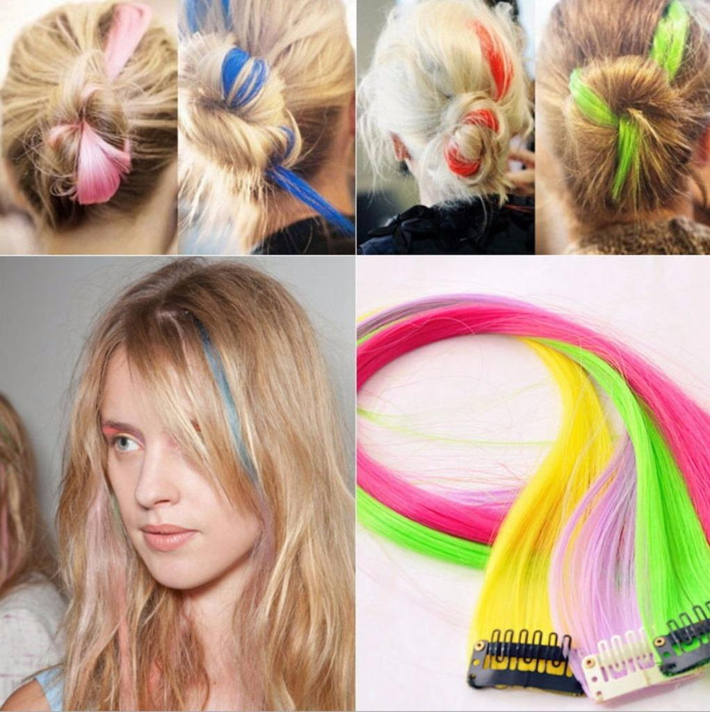New Funky Colourful Streak 22 Clip In Hair Extensions Range Colours