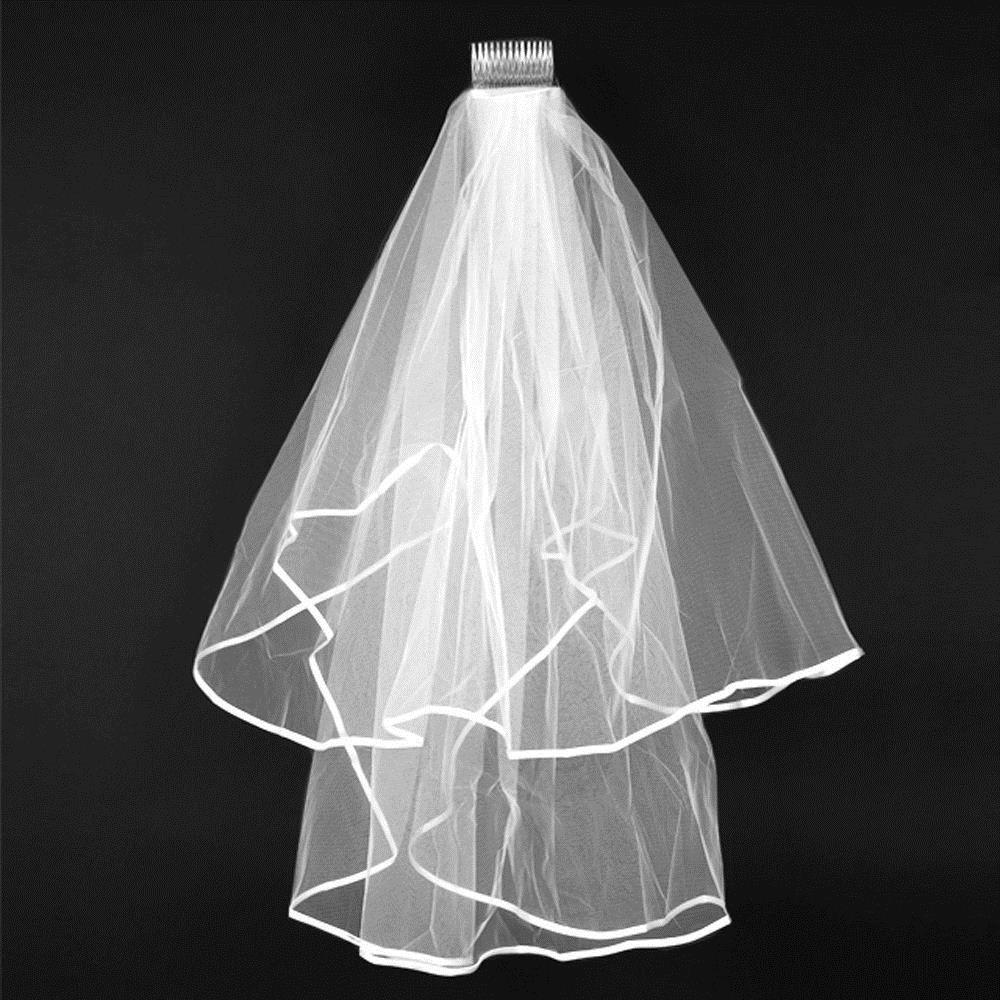White Ivory 2t Wedding Bridal Veil Satin Edge With Comb