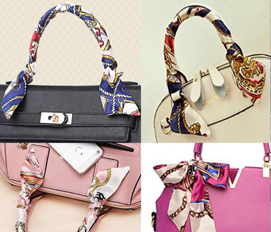 Silky Twill Handbag Bag Handle Wrap Purse Neck Hair Ribbon Scarf Uk Gift