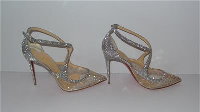 a0d26277c8c  1245 Christian Louboutin TWISTISSIMA STRASS 100 SILVER CRYSTAL ...
