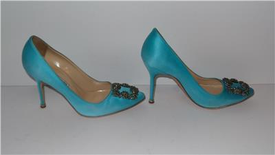 ddd498cf016  995 Manolo Blahnik Hangisi 105 Satin Turquoise Blue Pumps Heels ...
