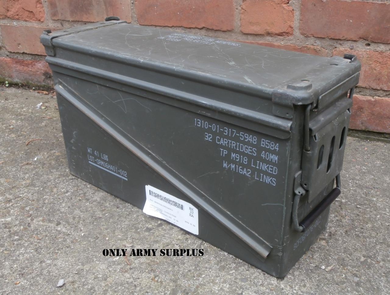 Details about US Army Large Metal Ammo Box Tool Box Storage Ammunition  Olive Surplus Tin Box 81385159d64