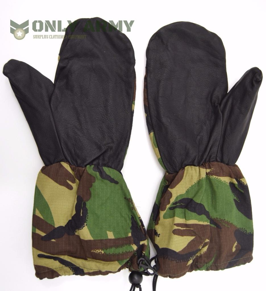 British Army Cold Weather Mittens Leather Palms Military