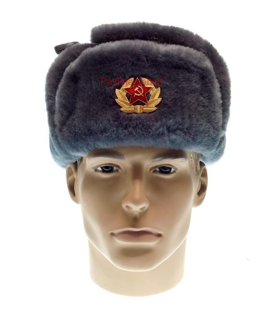 Details about Ushanka Officer Military Winter Fur Hat Russian Army Soviet Cap USSR Uniform