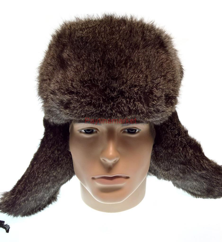 9f9ea633c Details about Russian Ushanka Natural rabbit fur Hat Military headdress  Winter Cap Man