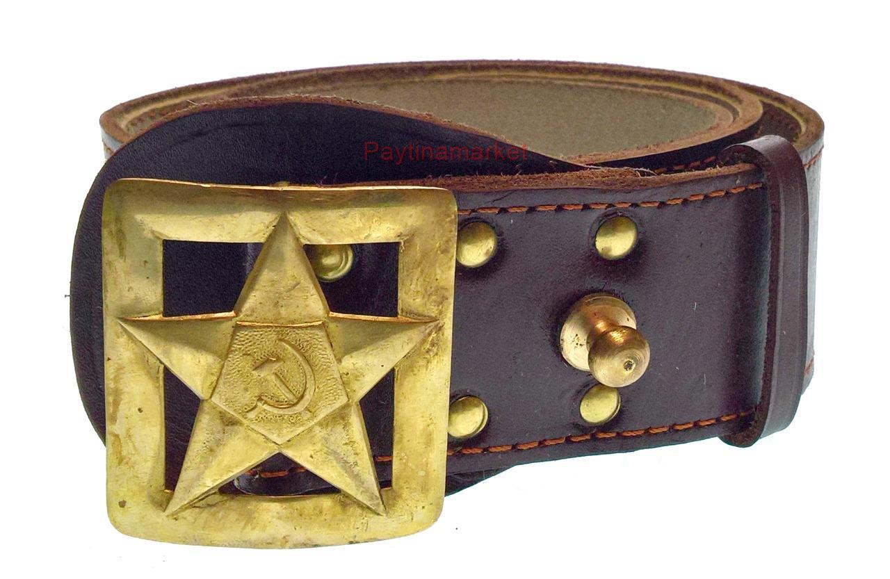 Soviet Military Russian General Belt Army Brown Leather Uniform Buckle USSR