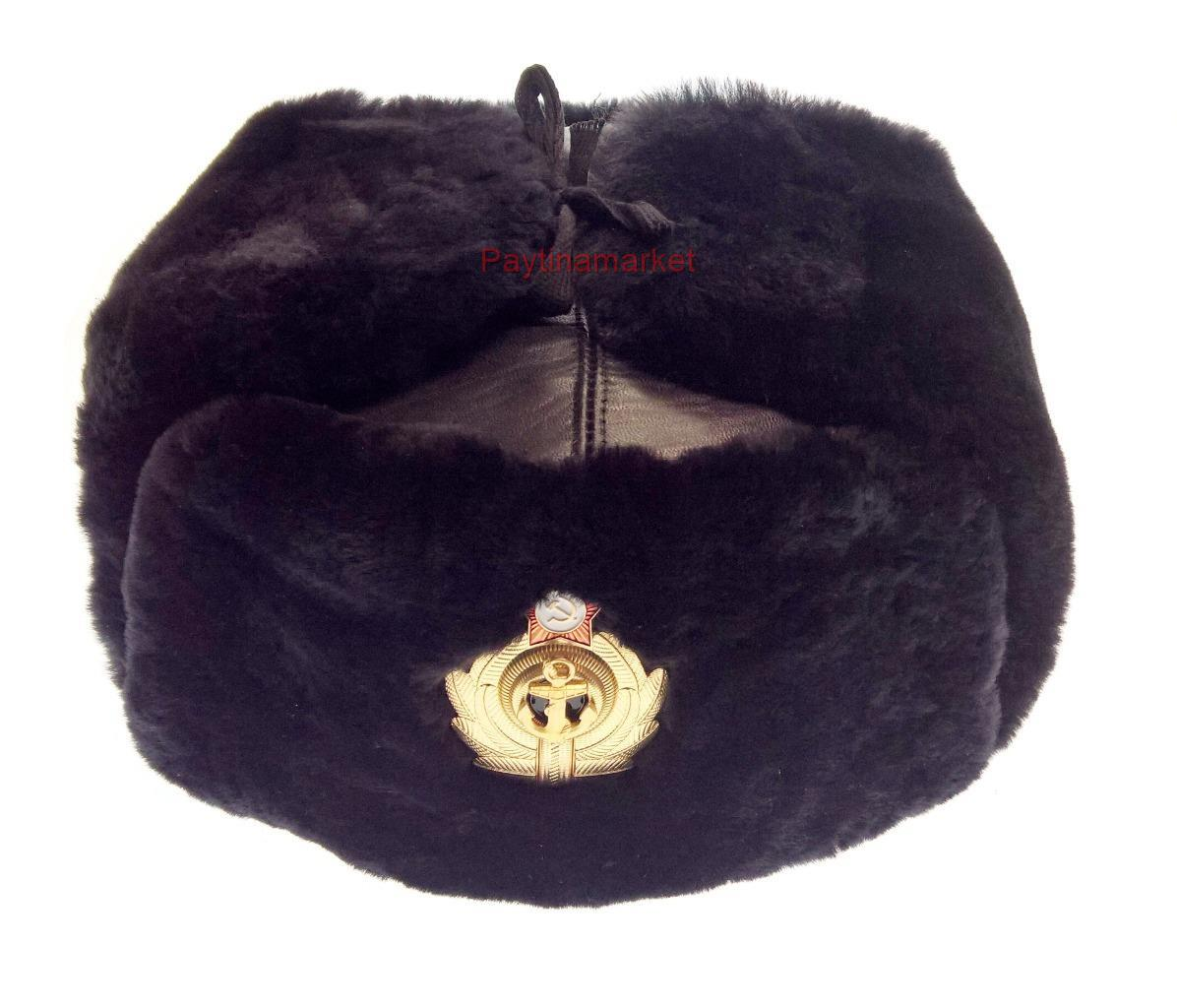 Navy Ushanka Officer VMF Military Cap Russian Army Winter Fur Naval Hat Leather