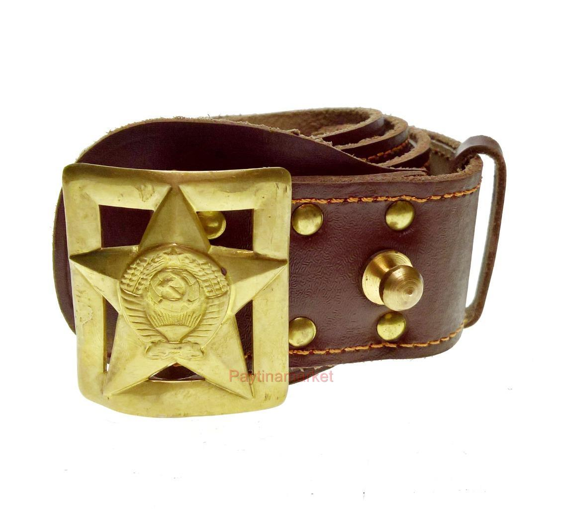 Soviet Military Russian Admiral Belt Army Leather Uniform Buckle Anchor USSR