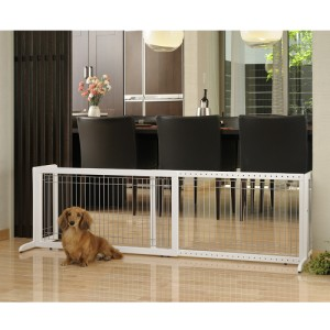 EXPANDABLE EXTRA WIDE WOODEN PET DOG GATE DOOR LARGE WHITE R94157