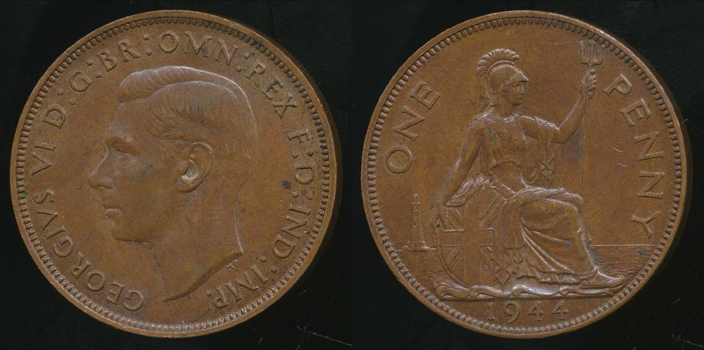 Great-Britain-Kingdom-1944-One-Penny-1d-George-VI-Extra-Fine
