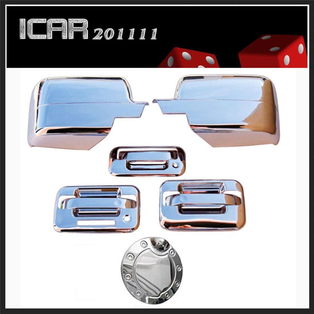 04 08 Ford F150 Chrome Tailgate Door Handle Mirror Covers Caps Gas Door Bezels
