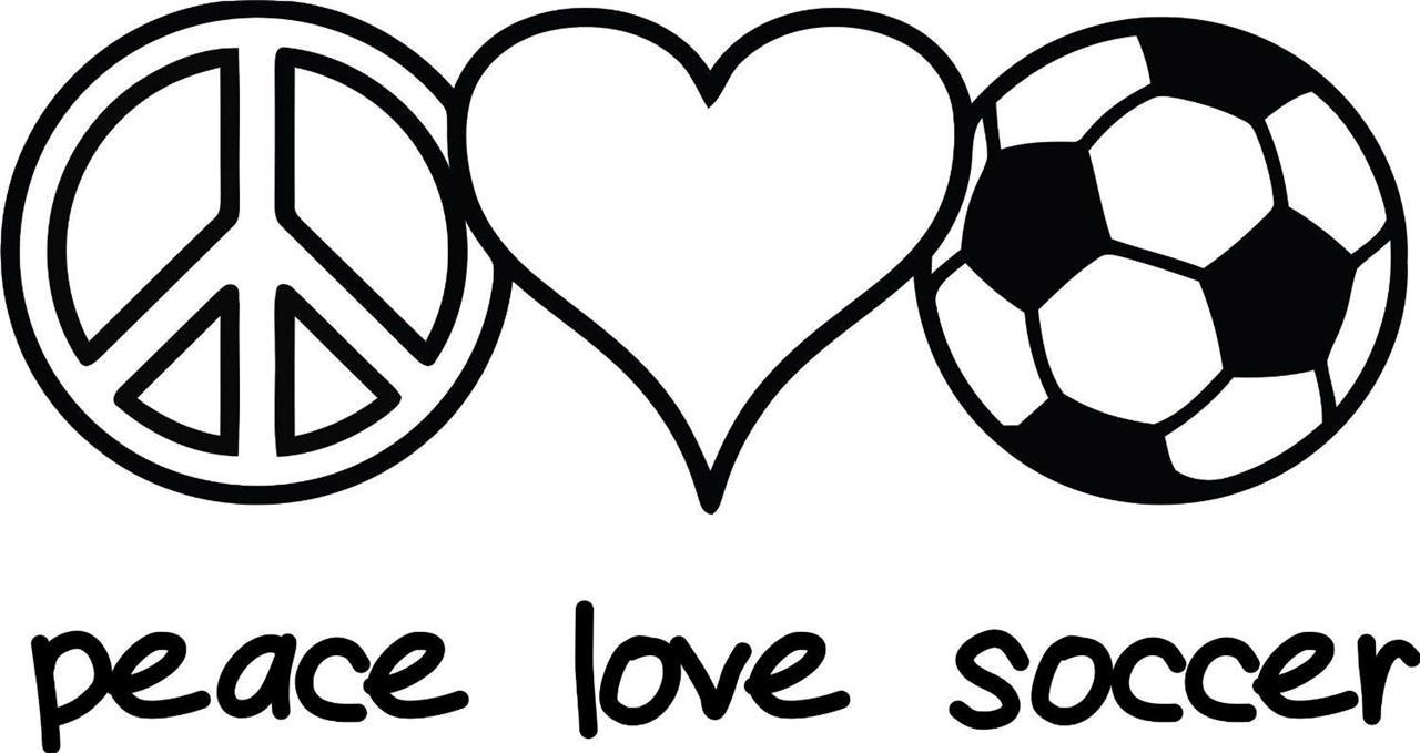 Peace Love Soccer Vinyl Wall Decal Girl's Sports Sticker