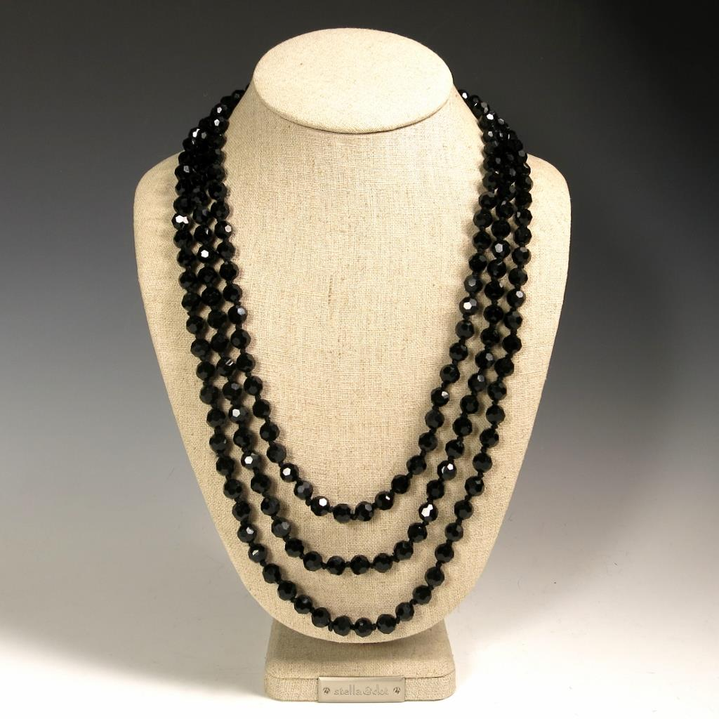 Classic 72 Quot Faceted Black Sparkling Crystals Beaded Extra