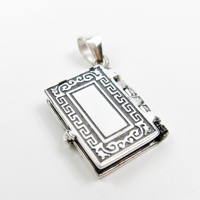 925 Sterling Silver Lord/'s Prayer Holy Bible Open Pages Locket Charm Pendant