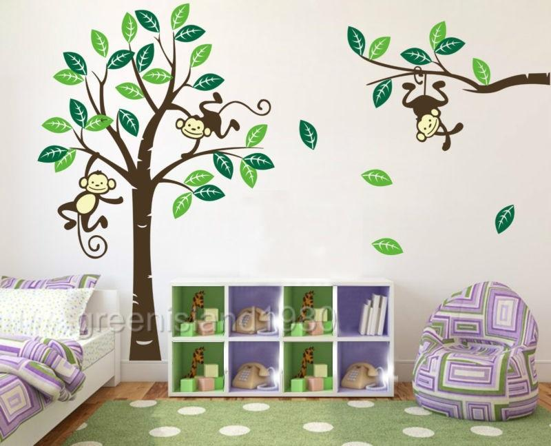 Details About Monkey Tree Giraffe Wall Art Stickers Kids Nursery Vinyl Decal Removable Large S