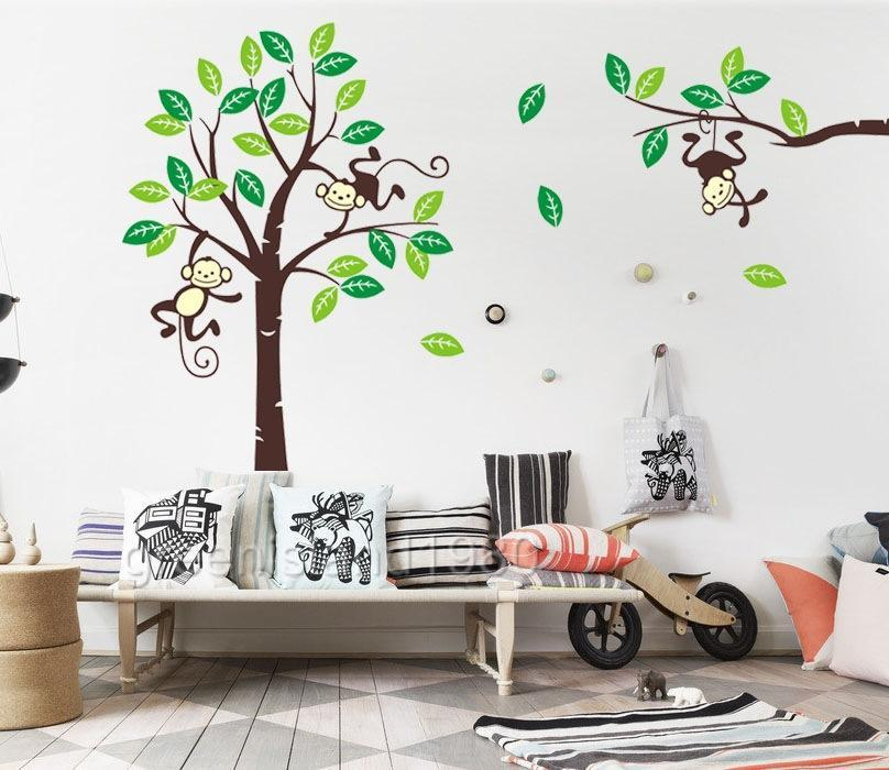 Giraffe Monkey Tree Wall Art Stickers Kids Nursery Vinyl
