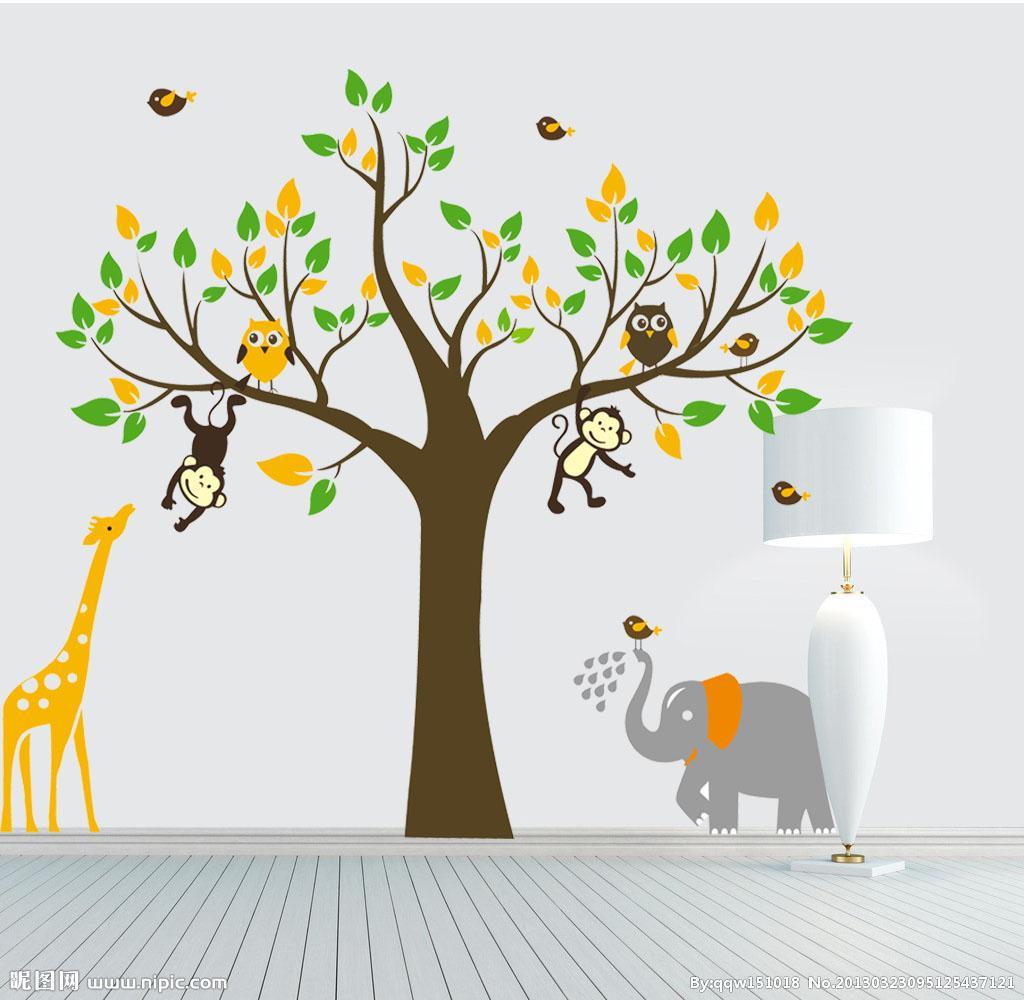 giraffe monkey tree wall art stickers kids nursery vinyl decal giraffe monkey tree wall art stickers kids nursery vinyl decal removable x large