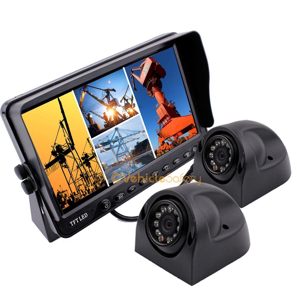 7 quad split screen monitor 2x side view backup camera system for truck trailer ebay. Black Bedroom Furniture Sets. Home Design Ideas