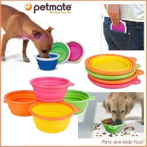Portable Pet Dog Cat Travel Water Drink Bowl Bottle: Portable Travel Folding Retractable Silicone Pet Dog Cat