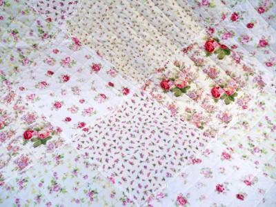 quilt plaid babydecke tagesdecke shabby chic 85 x 110 cm rosen ebay. Black Bedroom Furniture Sets. Home Design Ideas