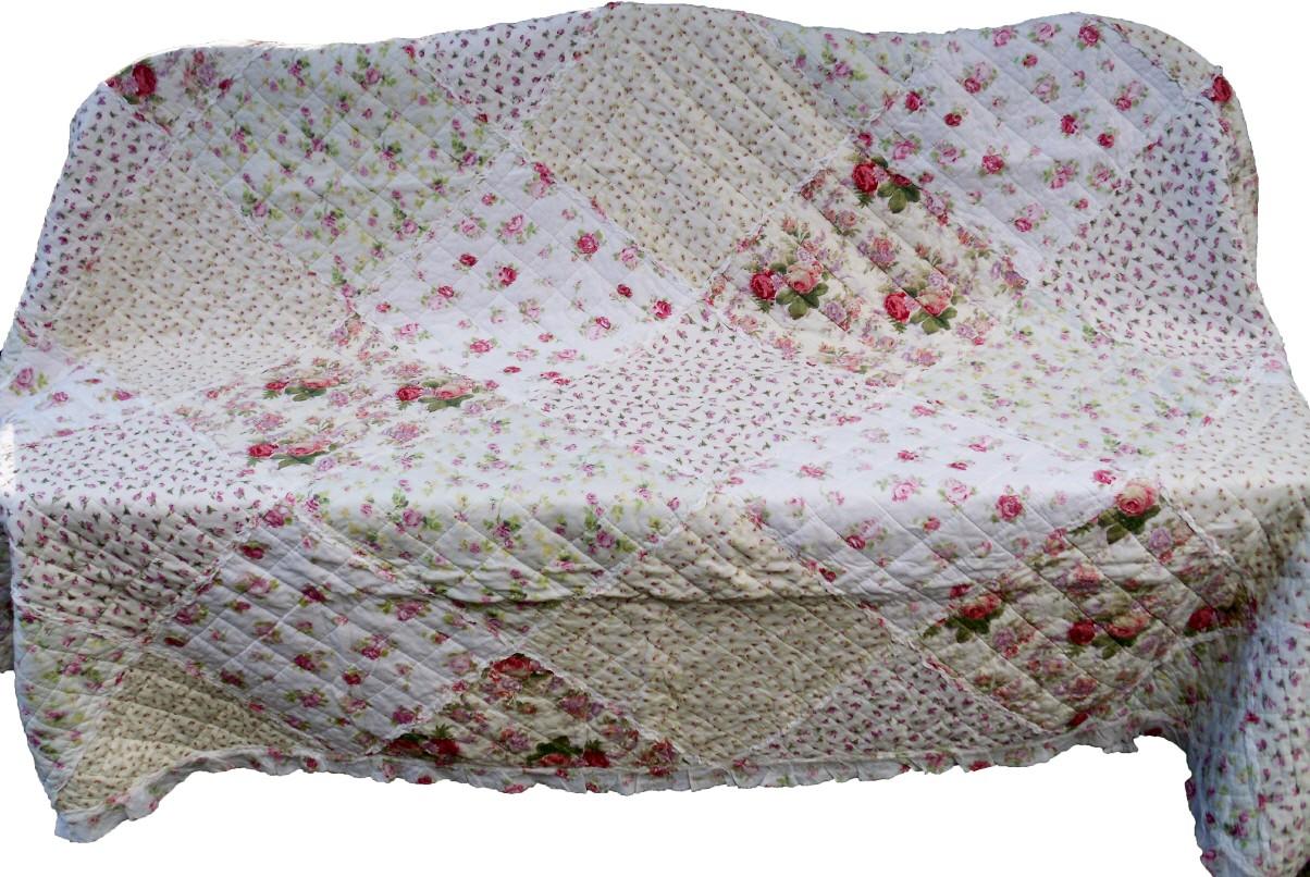 quilt plaid tagesdecke shabby chic 240 x 260 rosen ebay. Black Bedroom Furniture Sets. Home Design Ideas