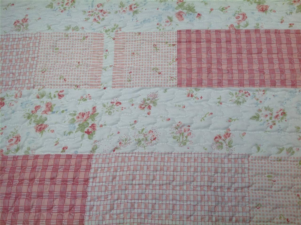 quilt patchwork tagesdecke shabby chic 130 x 200 rosen ebay. Black Bedroom Furniture Sets. Home Design Ideas