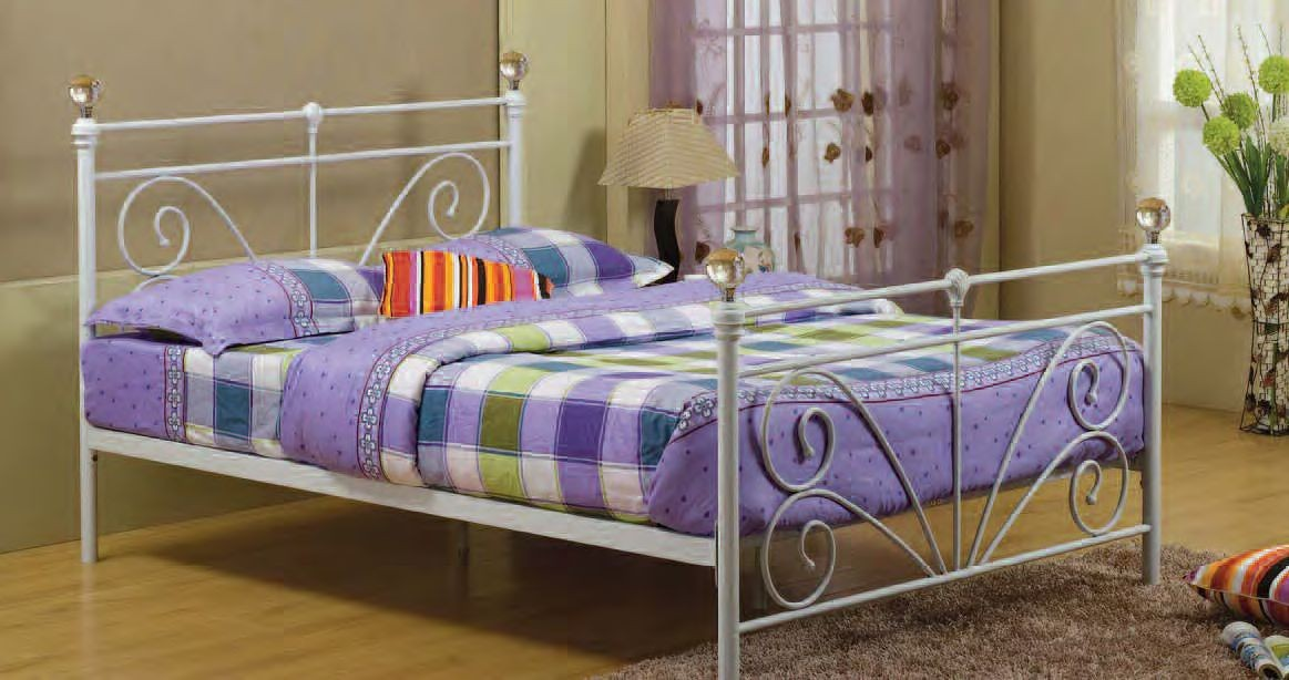 New 3ft Single 4ft6 Double White Metal Bed Frame With