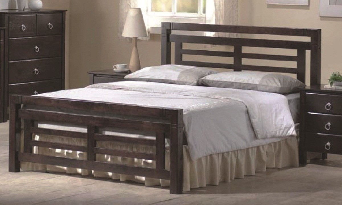 Colorado Dark Wood Bed Frame 4ft6 Double Or 5ft Kingsize