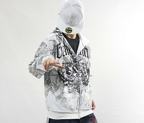 4 W3 Men s Hip Hop ECKO UNLTD Graffiti Printing Zipper Hoodie ... d5081aeddda