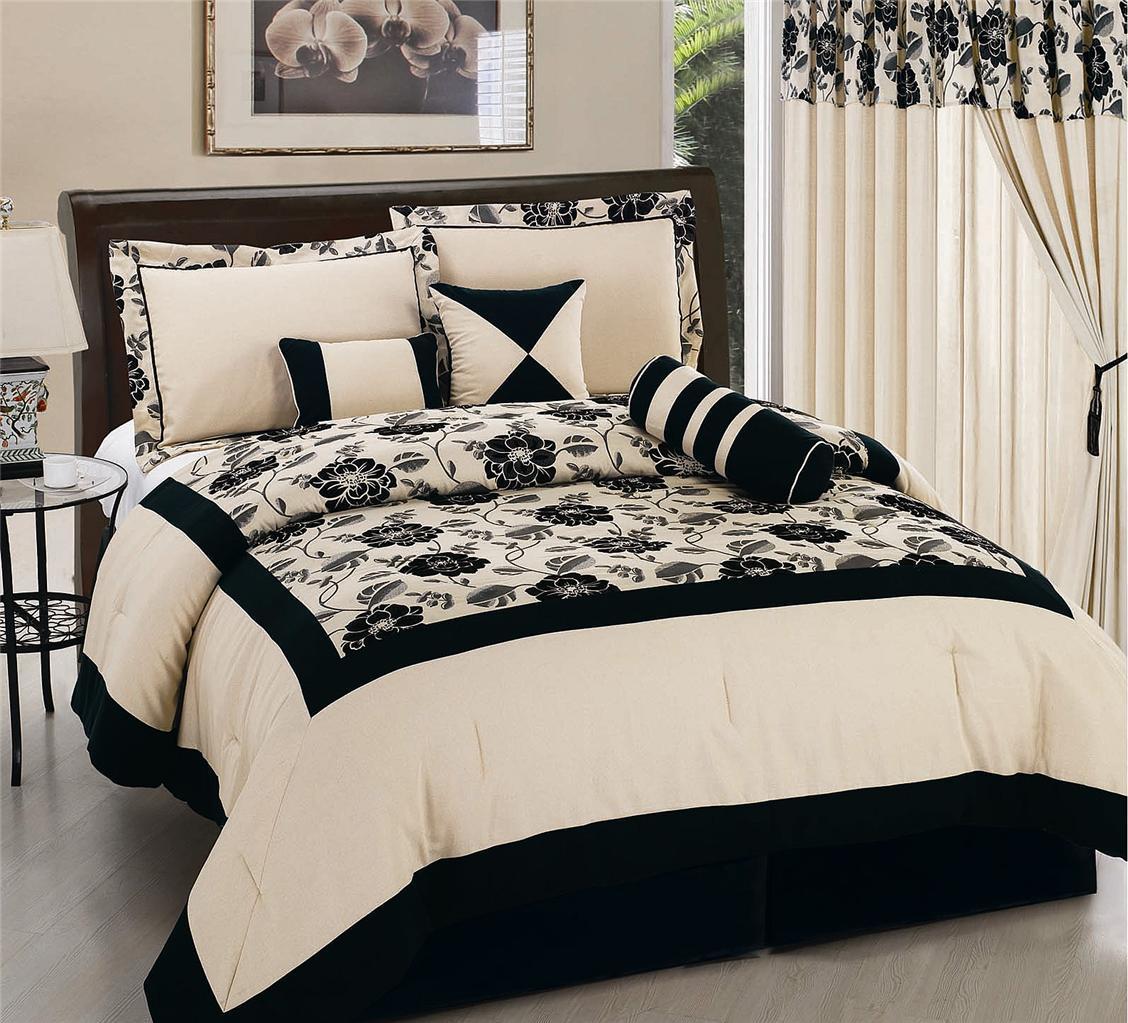 holiday cheap 7pc black flower linen flocking king size comforter set on sale ebay. Black Bedroom Furniture Sets. Home Design Ideas