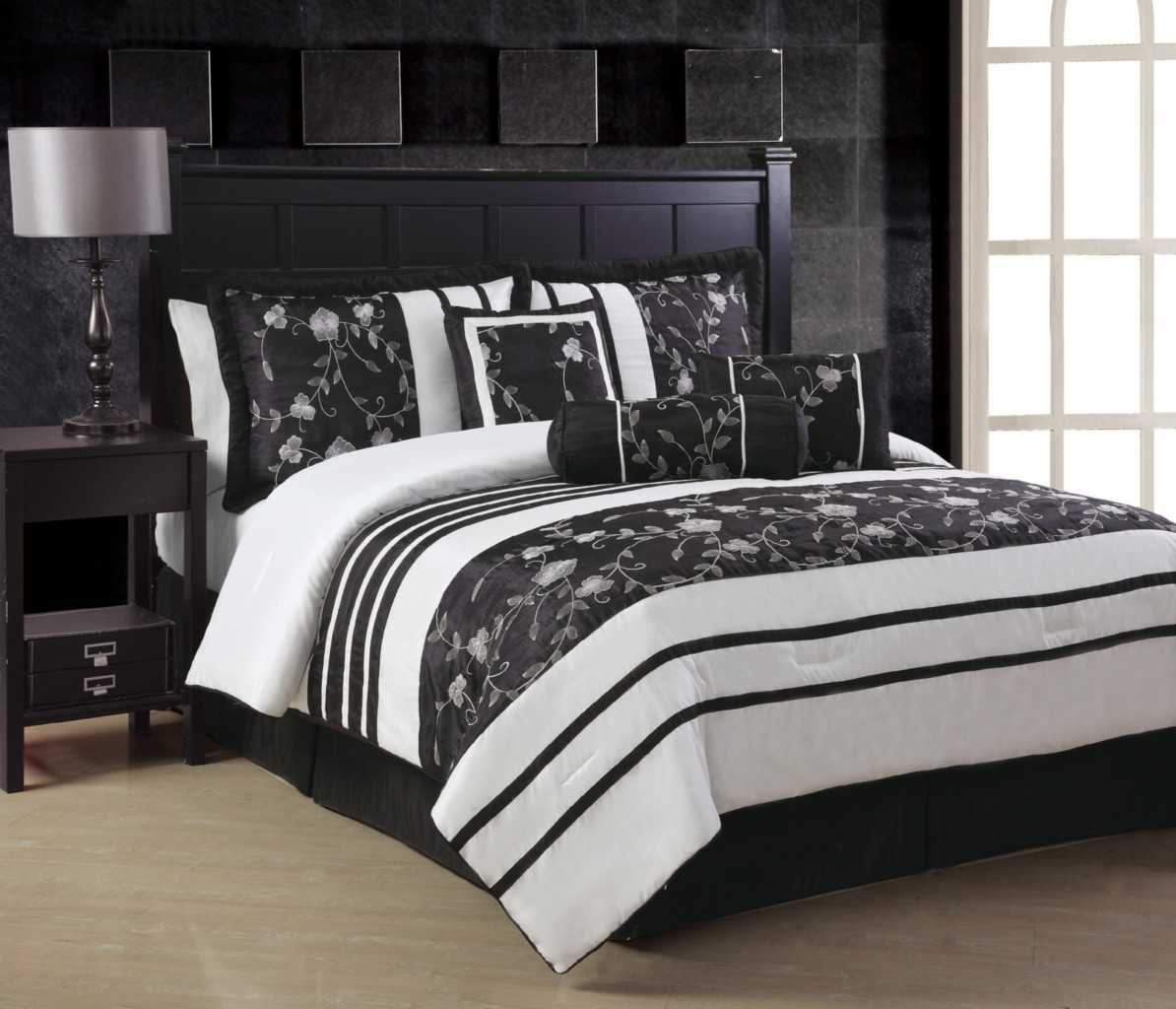 Ava White & Black Embroidery KING / QUEEN Comforter Set or ...