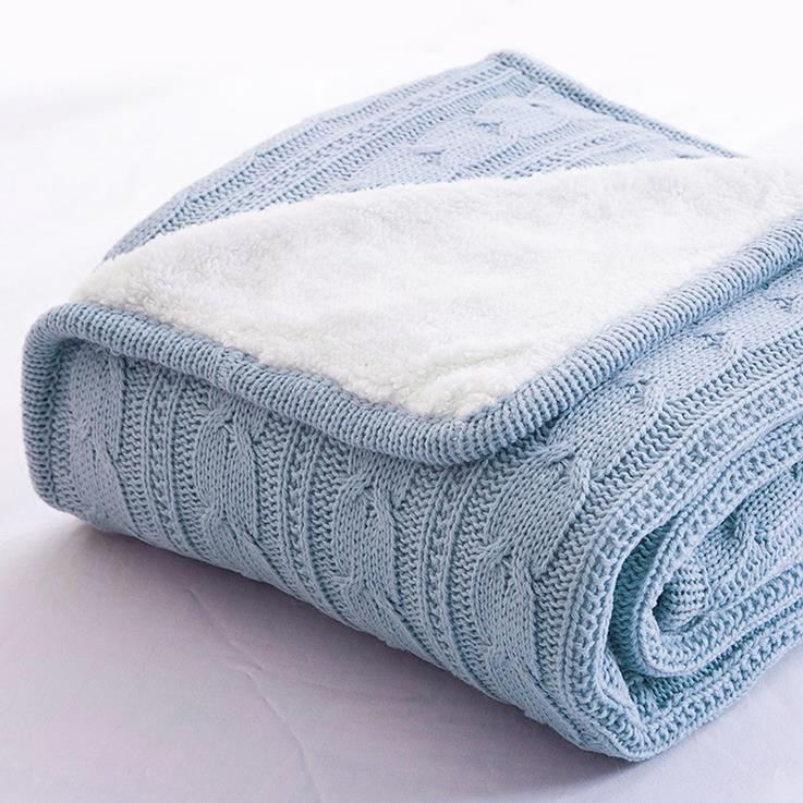 Cable Knit Sherpa Throw Blanket Reversible Faux Sheepskin lambswool ...